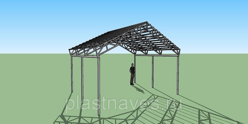 Двухскатный навес с прямыми фермами 7х6,5 метра
