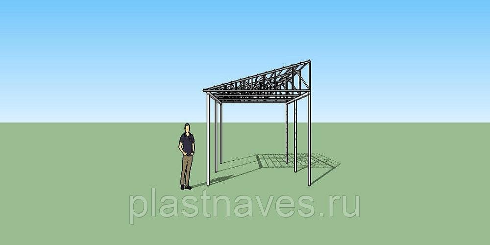 Навес односкатный с треугольными фермами 4х6 метра