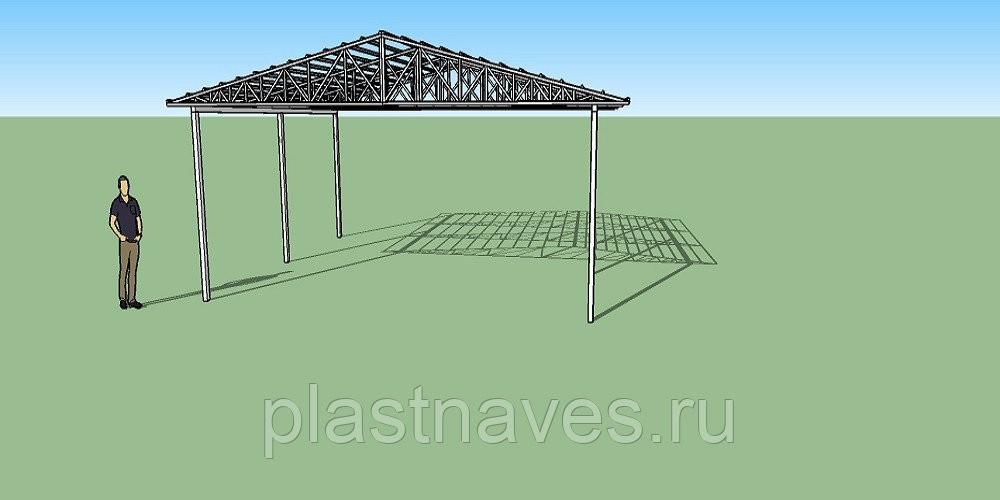 Навес двухскатный с треугольными фермами 7х6,5 метра